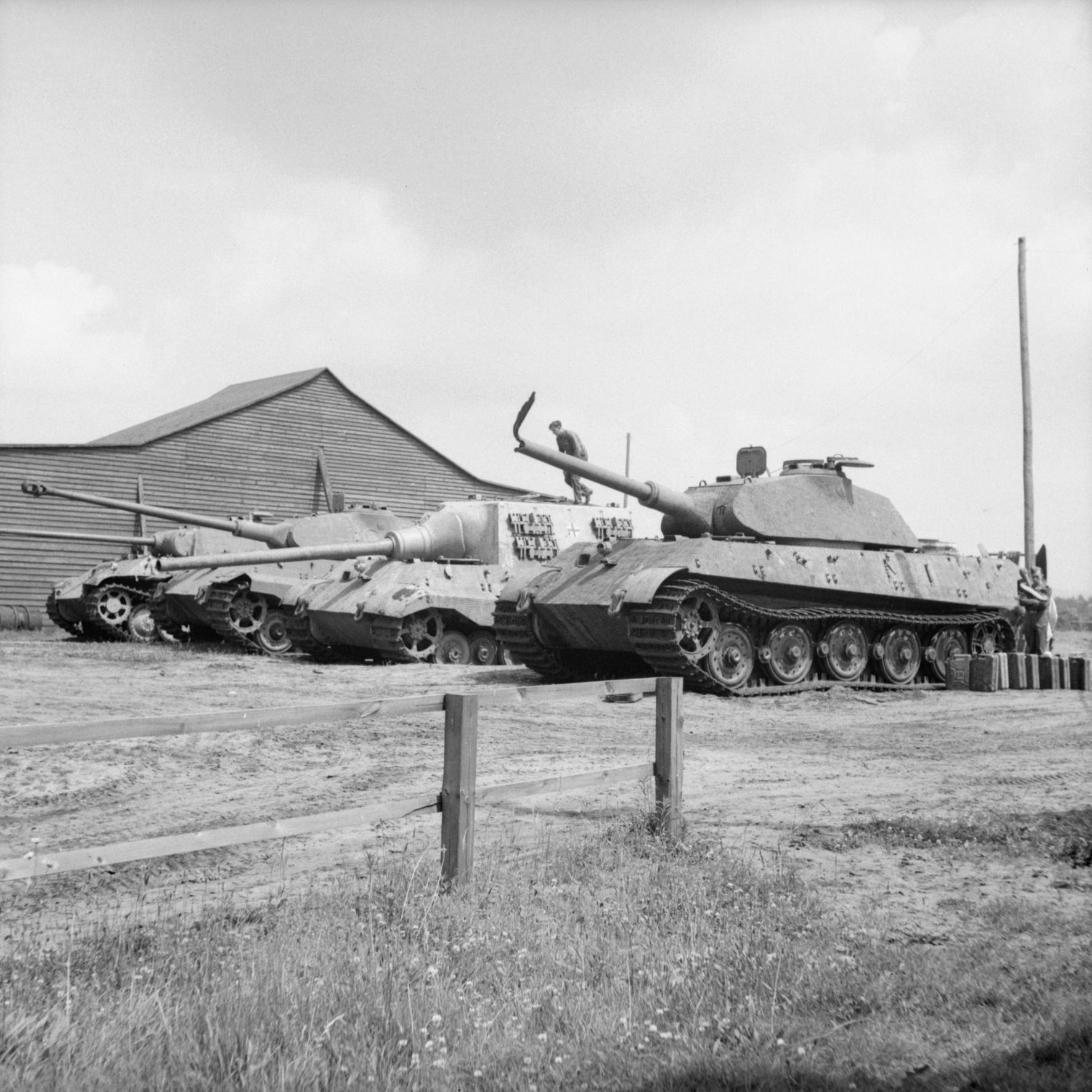 BU 8016 Four German heavy tanks at the Henschel tank testing ground at Haustenbeck near Paderborn Germany June 1945.